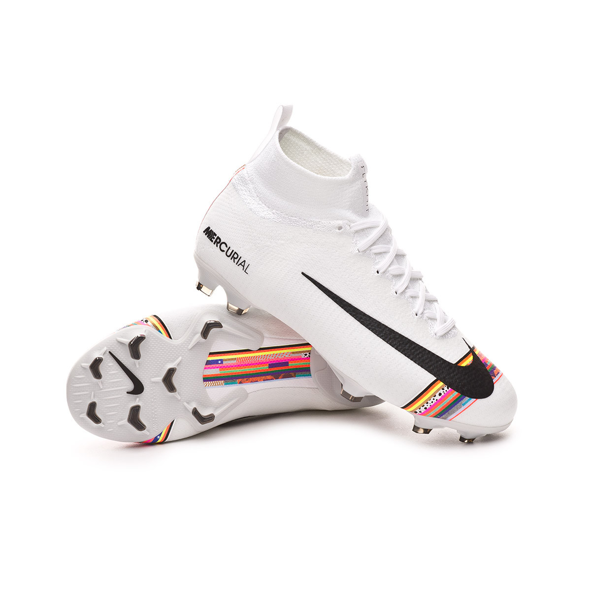 new concept df922 93275 Bota Mercurial Superfly VI Elite LVL UP FG Niño White-Black-Pure platinum