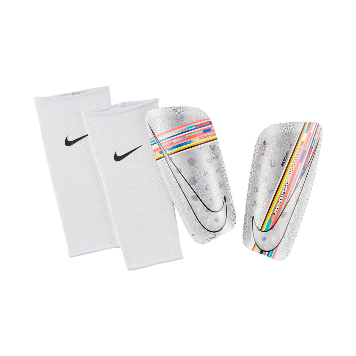 diario radioactividad Sinewi  Shinpads Nike Mercurial Lite LVL UP White-Multicolor-Black-White - Football  store Fútbol Emotion
