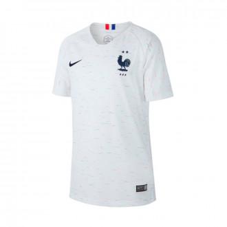 Camiseta  Nike Selección Francia Breathe Stadium Segunda Equipación 2018-2019 Niño White-Obsidian