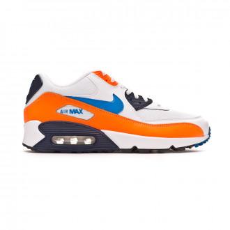 Zapatilla Nike Air Max '90 Essential White-Photo blue-Total orange