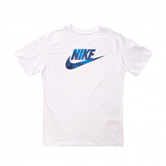 Camisola  Nike NSW SS Camo Fill Niño White-Photo blue