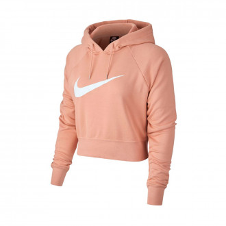 Felpa Nike NSW Swoosh Hoodie Crop FT Mujer Rose gold-White