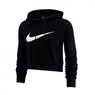 Sweatshirt Nike NSW Swoosh Hodiee Crop FT Mujer Black-White