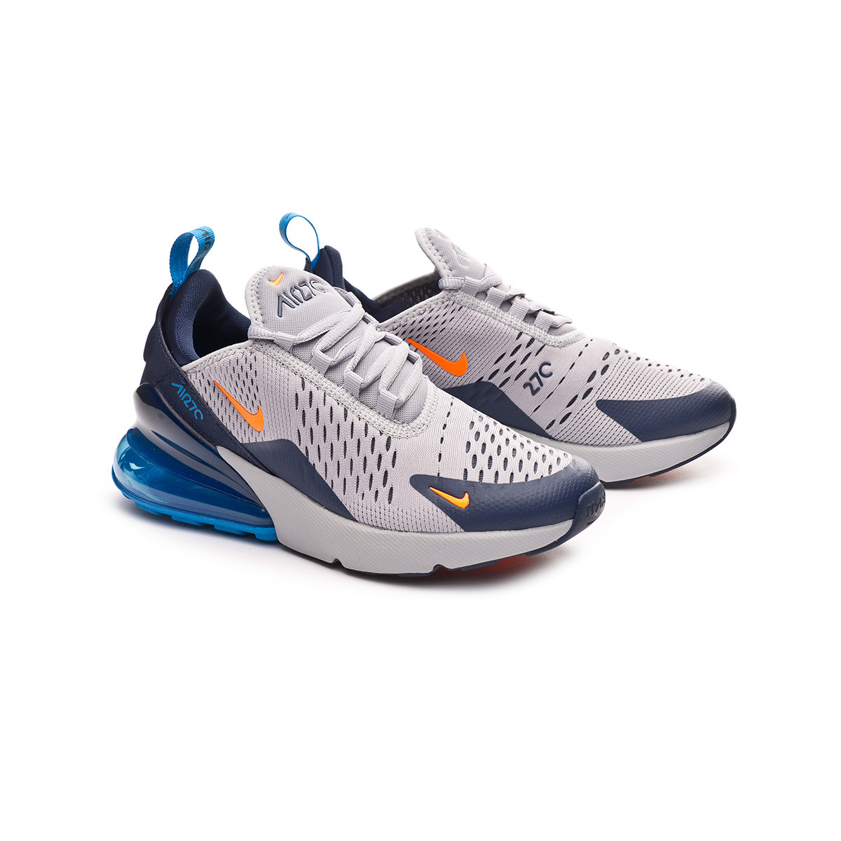separation shoes 4cf85 38fbd Nike Air Max 270 Niño Trainers. Wolf grey-Total orange-Midnight navy ...