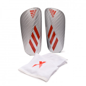 Shinpads  adidas X Pro Silver metallic-Hi-Res red-Black