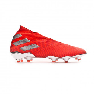 Chaussure de foot  adidas Nemeziz 19+ FG Active red-Silver metallic-Solar red