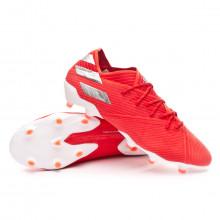 Football Boots Nemeziz 19.1 FG Active red-Silver metallic-Solar red