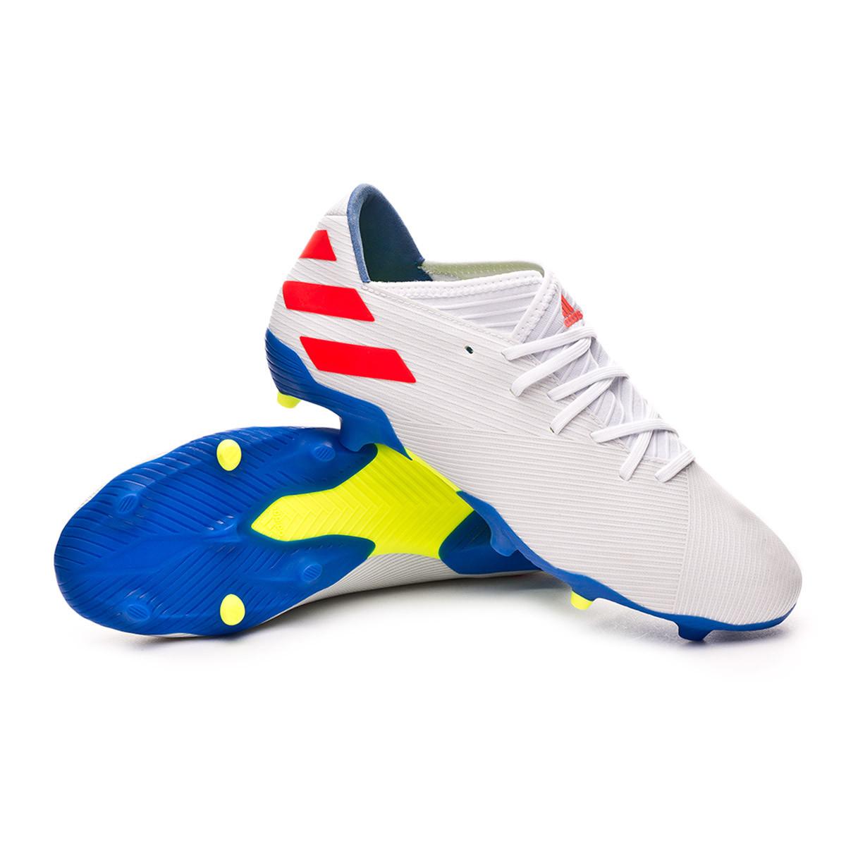 bbc5ecc3c34cac Scarpe adidas Nemeziz Messi 19.3 FG White-Solar red-Football blue - Negozio  di calcio Fútbol Emotion