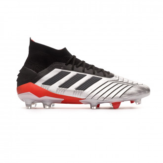 Chaussure de foot  adidas Predator 19.1 FG Silver metallic-Core black-Hi red
