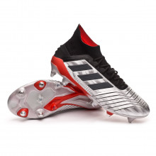 Chuteira Predator 19.1 SG Silver metallic-Core black-Hi red