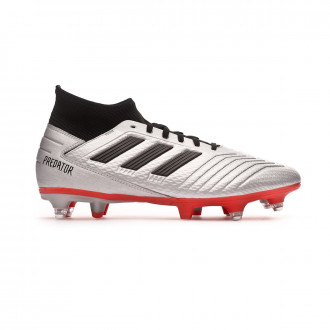 Chaussure de foot  adidas Predator 19.3 SG Silver metallic-Core black-Hi red