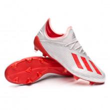 Chuteira X 19.1 FG Silver metallic-Hi red-White