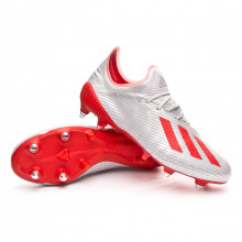Zapatos de fútbol X 19.1 SG Silver metallic-Hi red-White