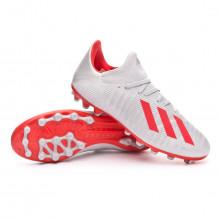 Bota X 19.3 AG Silver metallic-Hi red-White