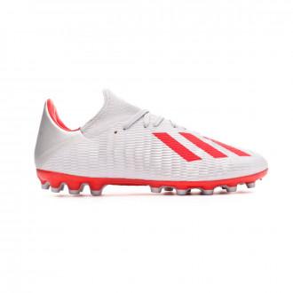 Chaussure de foot adidas X 19.3 AG Silver metallic-Hi red-White