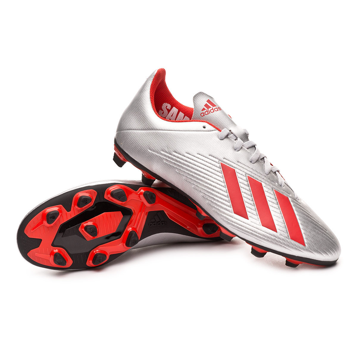 1e0de5900 Football Boots adidas X 19.4 FxG Silver metallic-Hi red-Core black -  Football store Fútbol Emotion