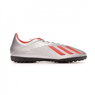 Chaussure de football  adidas X 19.4 Turf Silver metallic-Hi red-White