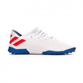 Chaussure de football  adidas Nemeziz Messi 19.3 enfant Turf White-Solar red-Football blue