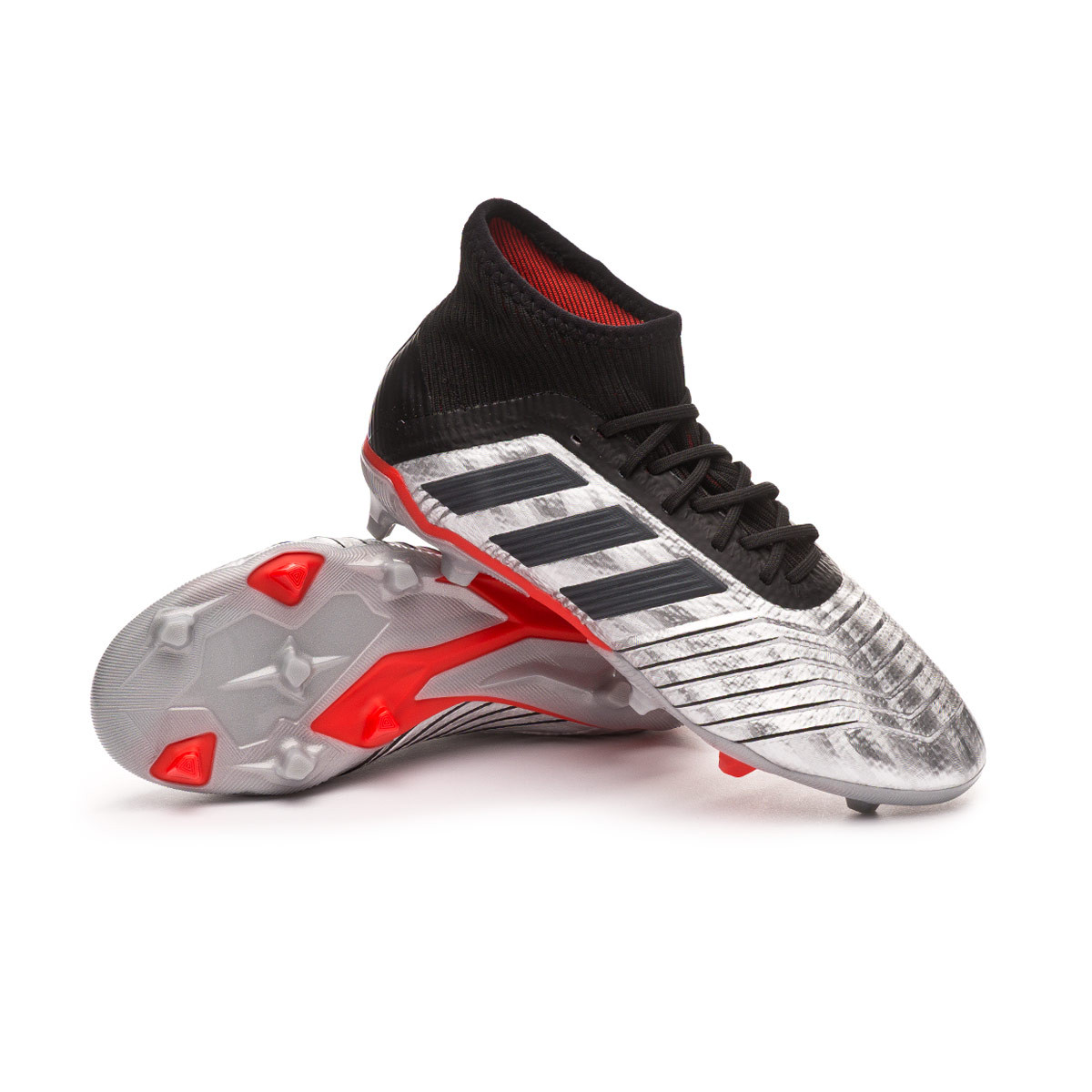 Bota Predator 19.1 FG Niño Silver metallic Core black Hi red