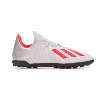 Chaussure de football  adidas X 19.3 Turf enfant Silver metallic-Hi red-White