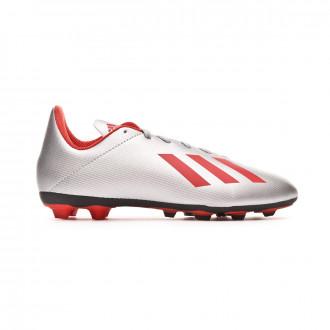 Bota  adidas X 19.4 FxG Niño Silver metallic-Hi red-White
