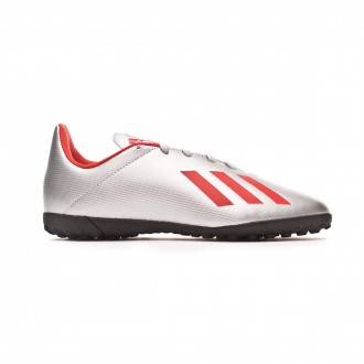 Football Boot  adidas X 19.4 Turf Niño Silver metallic-Hi red-White