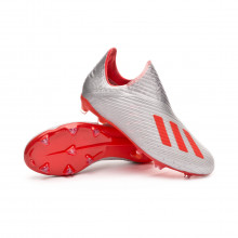 Football Boots Kids X 19+ FG  Silver metallic-Hi red-White