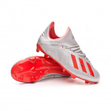 Football Boots Kids X 19.1 FG  Silver metallic-Hi red-White