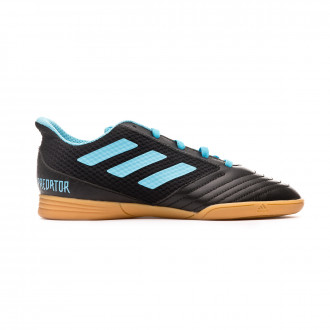 Sapatilha de Futsal adidas Predator 19.4 IN Sala Niño Core black-Bright cyan-Solar yellow