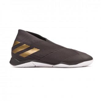 Sapatilha de Futsal adidas Nemeziz 19.3 Laceless IN Core black-Gold metallic-Utility black