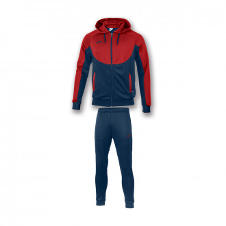 Tracksuit  Joma Con Capucha Essential Red-Navy blue