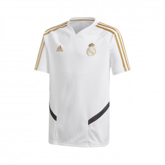 Maillot  adidas Real Madrid Training 2019-2020 enfant White-Dark football gold