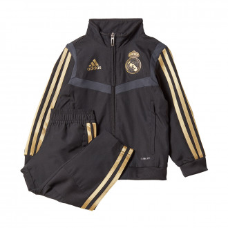 Tracksuit adidas Real Madrid Pre Match 2019-2020 Black-Dark football gold