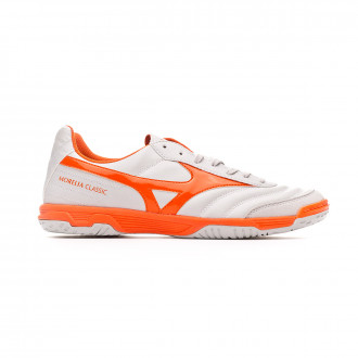 Sapatilha de Futsal Mizuno Morelia Sala Classic IN Glacier Gray-Red orange