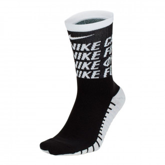 Meias Nike FC Squad Crew White-Black-White