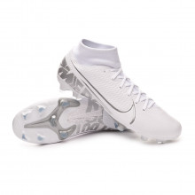 Football Boots Mercurial Superfly VII Academy FG/MG White-Chrome-Metallic silver