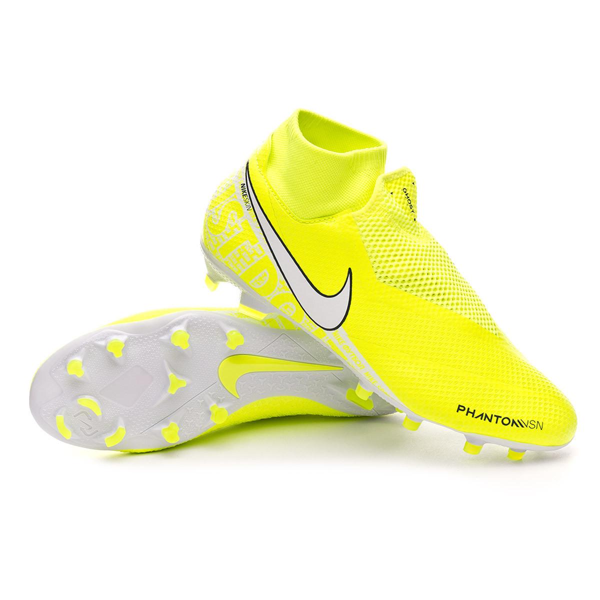 Chaussure de foot Nike Phantom Vision Pro DF FG Volt-White ...
