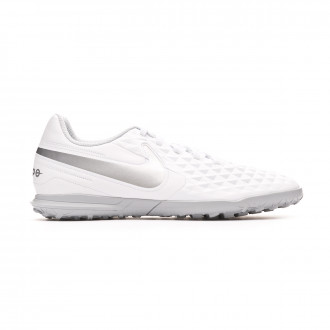 Sapatilhas Nike Tiempo Legend VIII Club Turf White-Chrome-Pure platinum-Wolf grey