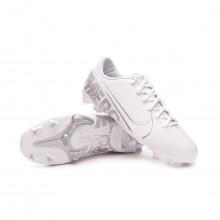 Chuteira Mercurial Vapor XIII Academy FG/MG Criança White-Chrome-Metallic silver