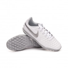 Football Boot Tiempo Legend VIII Club Turf Niño White-Chrome-Pure platinum-Wolf grey