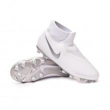 Football Boots Phantom Vision Academy DF FG/MG Niño White-Chrome-Metallic silver