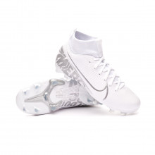 Chaussure de foot Mercurial Superfly VII Academy FG/MG Enfant White-Chrome-Metallic silver