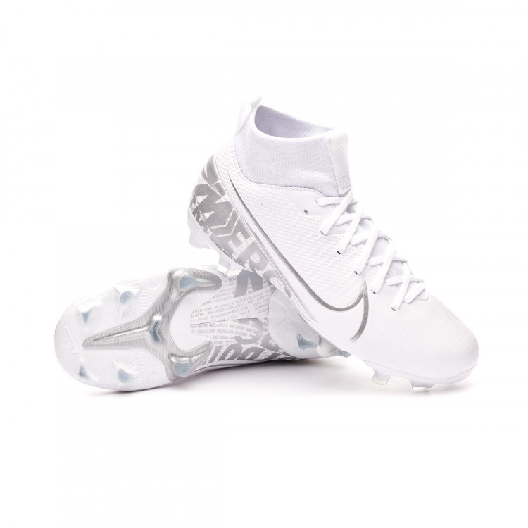 new products 349fe 17d70 Bota Mercurial Superfly VII Academy FG/MG Niño White-Chrome-Metallic silver