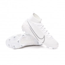 Chuteira Mercurial Superfly VII Elite FG Criança White-Metallic platinum