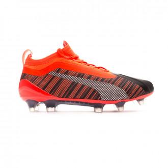 Zapatos de fútbol Puma One 5.1 FG/AG Niño Puma black-Nrgy red-Puma aged silver