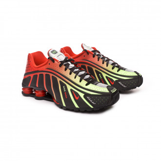 Futsal Boot  Nike Shox R4 Neymar Jr Black-Challenge red-Metallic silver