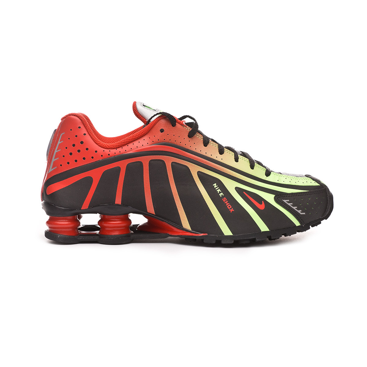 Zapatilla Shox R4 Neymar Jr Black-Challenge red-Metallic silver