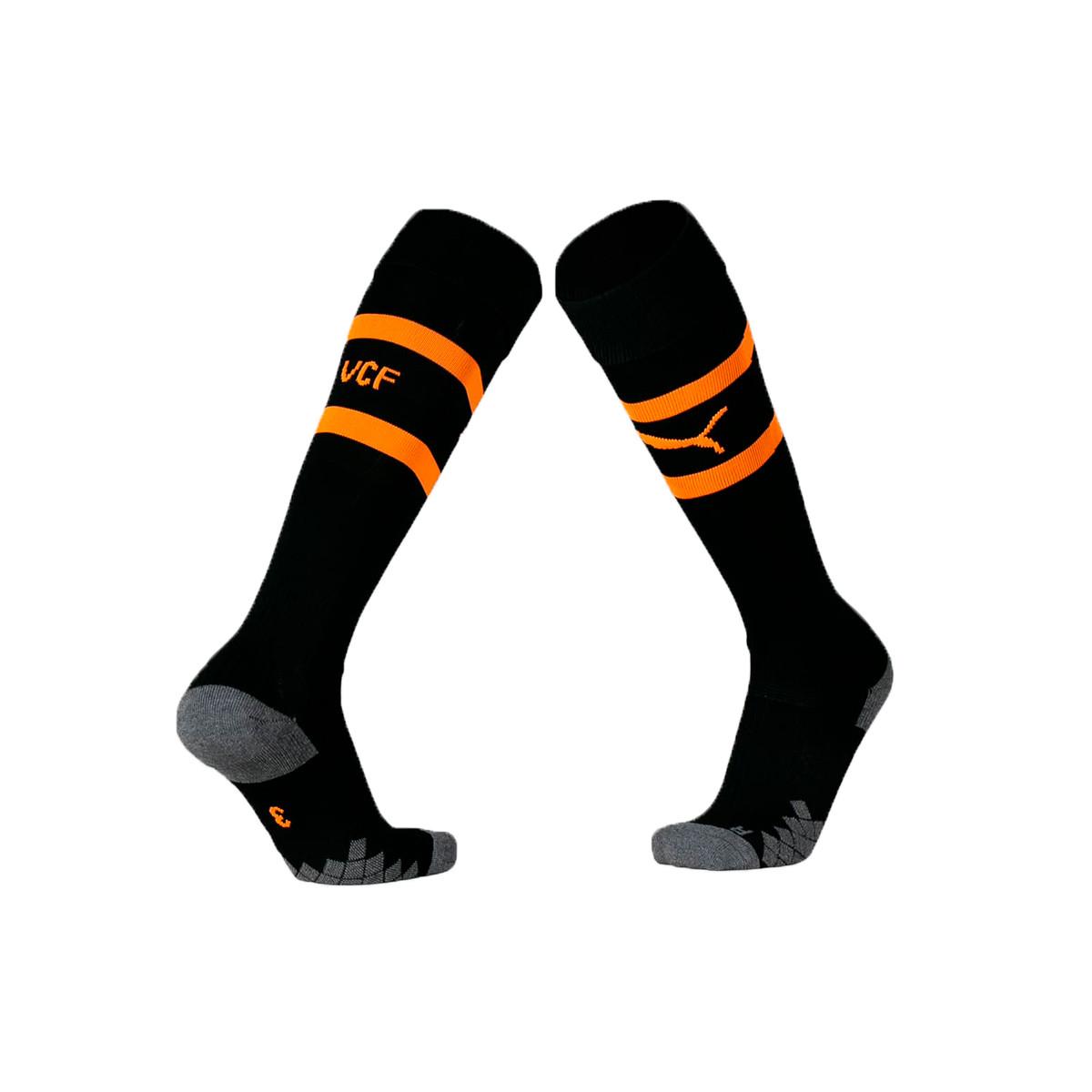 03eea4237 Football Socks Puma Valencia CF Segunda Equipación 2019-2020 Puma  black-Vibrant orange - Football store Fútbol Emotion