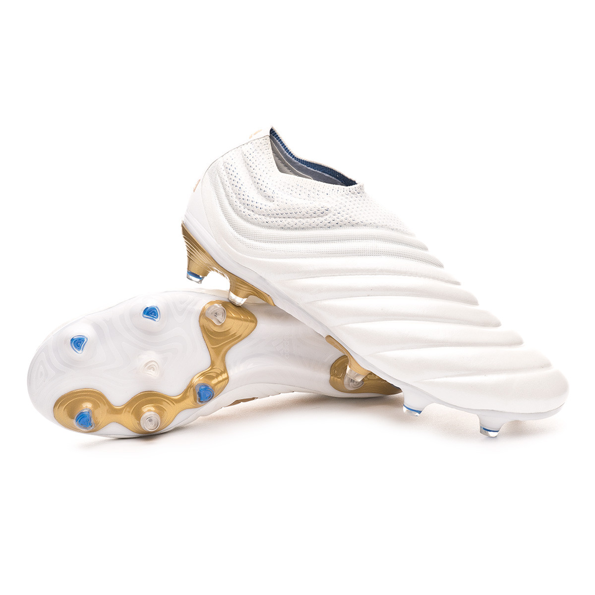 Bota Copa 19+ FG White Gold metallic Football blue