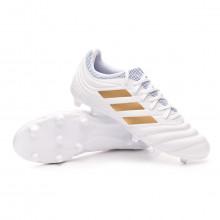 Zapatos de fútbol Copa 19.3 FG White-Gold metallic-Football blue